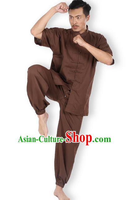 Top Grade Kung Fu Costume Martial Arts Coffee Linen Suits Pulian Zen Clothing, Training Costume Tai Ji Meditation Uniforms Gongfu Wushu Tai Chi Short Sleeve Clothing for Men