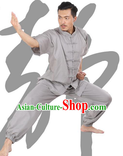 Top Grade Kung Fu Costume Martial Arts Light Grey Linen Suits Pulian Zen Clothing, Training Costume Tai Ji Meditation Uniforms Gongfu Wushu Tai Chi Short Sleeve Clothing for Men