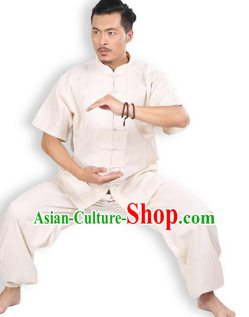Top Grade Kung Fu Costume Martial Arts Beige Linen Suits Pulian Zen Clothing, Training Costume Tai Ji Meditation Uniforms Gongfu Wushu Tai Chi Short Sleeve Clothing for Men