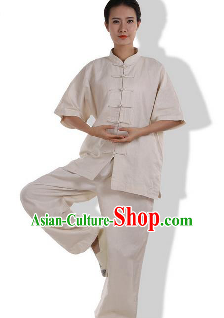 Top Grade Kung Fu Costume Martial Arts Beige Linen Suits Pulian Zen Clothing, Training Costume Tai Ji Meditation Uniforms Gongfu Wushu Tai Chi Short Sleeve Clothing for Women