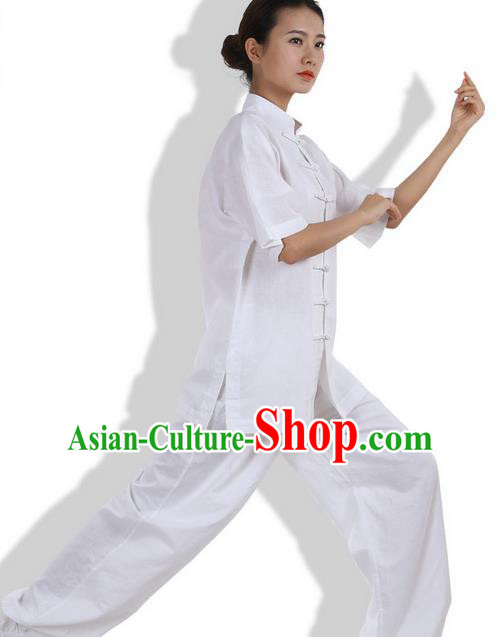 Top Grade Kung Fu Costume Martial Arts White Linen Suits Pulian Zen Clothing, Training Costume Tai Ji Meditation Uniforms Gongfu Wushu Tai Chi Short Sleeve Clothing for Women