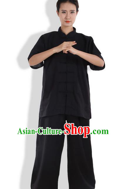 Top Grade Kung Fu Costume Martial Arts Black Linen Suits Pulian Zen Clothing, Training Costume Tai Ji Meditation Uniforms Gongfu Wushu Tai Chi Short Sleeve Clothing for Women