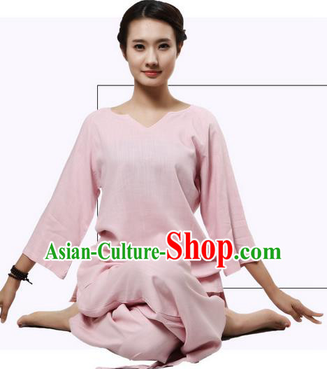 Top Grade Kung Fu Costume Martial Arts Pink Linen Suits Pulian Clothing, Zen Costume Tai Ji Meditation Uniforms Wushu Tai Chi Short Sleeve Clothing for Women