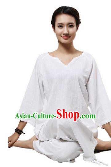 Top Grade Kung Fu Costume Martial Arts White Linen Suits Pulian Clothing, Zen Costume Tai Ji Meditation Uniforms Wushu Tai Chi Short Sleeve Clothing for Women