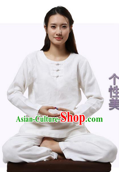 Top Grade Kung Fu Costume Martial Arts Rose Linen Suits Pulian Clothing, Zen Costume Tai Ji Meditation Uniforms Wushu Tai Chi Long Sleeve Clothing for Women