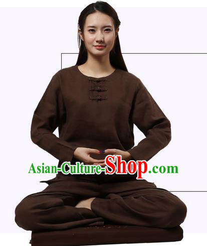 Top Grade Kung Fu Costume Martial Arts Coffee Linen Suits Pulian Clothing, Zen Costume Tai Ji Meditation Uniforms Wushu Tai Chi Long Sleeve Clothing for Women