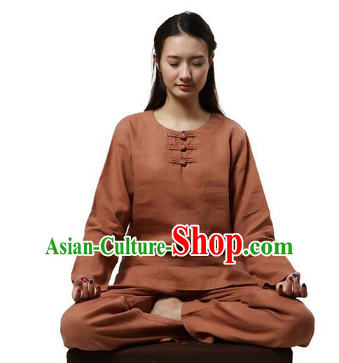 Top Grade Kung Fu Costume Martial Arts Rusty Red Linen Suits Pulian Clothing, Zen Costume Tai Ji Meditation Uniforms Wushu Tai Chi Long Sleeve Clothing for Women