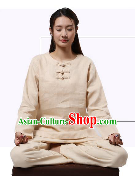 Top Grade Kung Fu Costume Martial Arts Beige Linen Suits Pulian Clothing, Zen Costume Tai Ji Meditation Uniforms Wushu Tai Chi Long Sleeve Clothing for Women