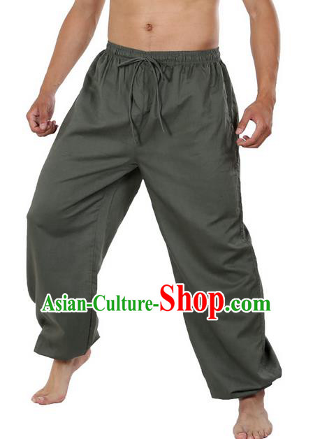 Top Grade Kung Fu Costume Martial Arts Green Linen Pants Pulian Zen Clothing, Training Bloomers Gongfu Meditation Trousers Shaolin Wushu Tai Chi Plus Fours for Men