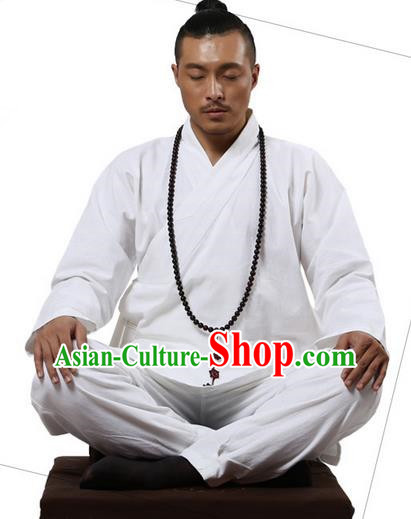 Traditional Chinese Kung Fu Costume Martial Arts White Linen Suits Pulian Clothing, Training Costume Tai Ji Meditation Uniforms Gongfu Wushu Tai Chi Clothing for Men