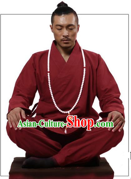 Traditional Chinese Kung Fu Costume Martial Arts Red Linen Suits Pulian Clothing, Training Costume Tai Ji Meditation Uniforms Gongfu Wushu Tai Chi Clothing for Men