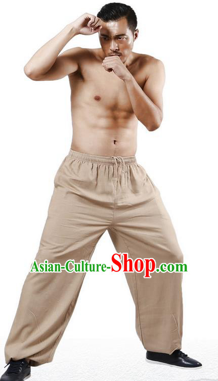 Top Grade Kung Fu Costume Martial Arts Khaki Linen Pants Pulian Training Bloomers, Gongfu Trousers Shaolin Wushu Tai Chi Plus Fours for Men