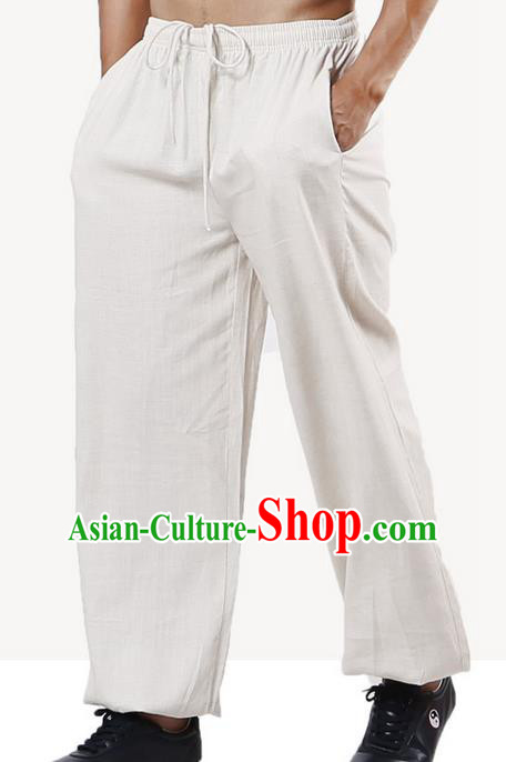 Top Grade Kung Fu Costume Martial Arts Beige Linen Pants Pulian Training Bloomers, Gongfu Trousers Shaolin Wushu Tai Chi Plus Fours for Men