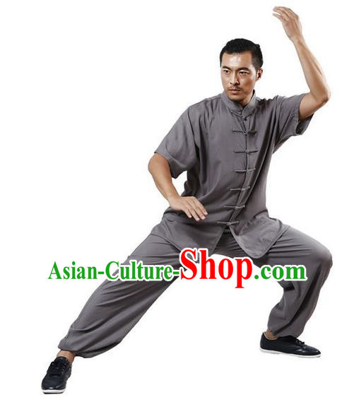 Traditional Chinese Kung Fu Costume Martial Arts Linen Grey Suits Pulian Meditation Clothing, Tang Suit Plated Buttons Uniforms Tai Chi Clothing for Men