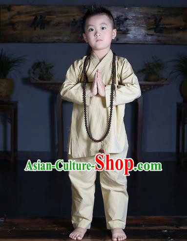 Traditional Chinese Kung Fu Costume Martial Arts Litter Monk Suits Pulian Meditation Clothing, Children Tang Suit Uniforms Tai Chi Beige Clothing for Kids