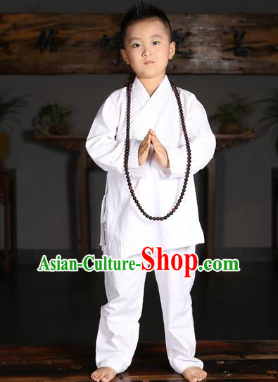 Traditional Chinese Kung Fu Costume Martial Arts Litter Monk Suits Pulian Meditation Clothing, Children Tang Suit Uniforms Tai Chi White Clothing for Kids