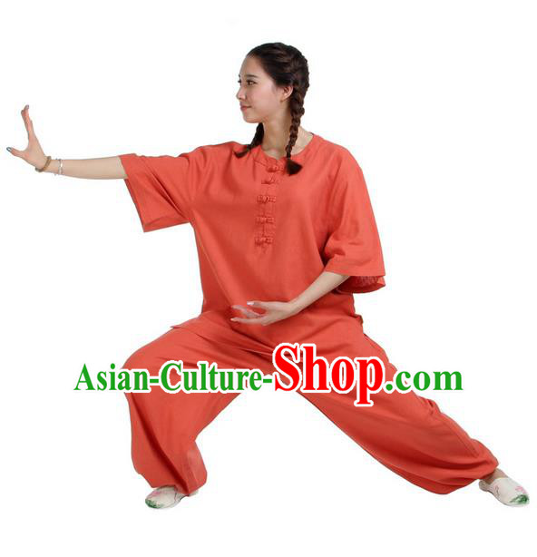 Traditional Chinese Kung Fu Costume Martial Arts Linen Suits Pulian Meditation Clothing, China Tang Suit Uniforms Tai Chi Orange Clothing for Women