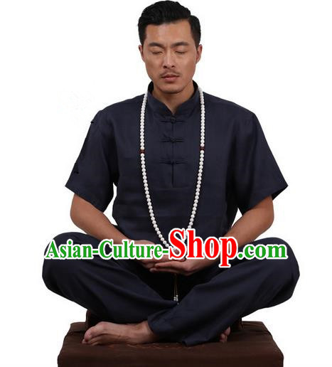 Traditional Chinese Kung Fu Costume Martial Arts Linen Plated Buttons Black Suits Pulian Meditation Clothing, China Tang Suit Uniforms Tai Chi Clothing for Men
