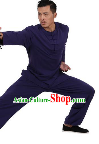 Traditional Chinese Kung Fu Costume Martial Arts Linen Plated Buttons Navy Suits Pulian Meditation Clothing, China Tang Suit Uniforms Tai Chi Clothing for Men