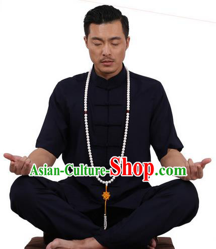 Traditional Chinese Kung Fu Costume Martial Arts Linen Plated Buttons Short Sleeve Navy Uniforms Pulian Clothing, China Tang Suit Tai Chi Meditation Clothing for Men