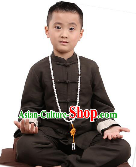 Traditional Chinese Kung Fu Costume, Children Martial Arts Linen Long Sleeve Suits Pulian Clothing, China Tang Suit Tai Chi Meditation Grey Uniforms for Kids