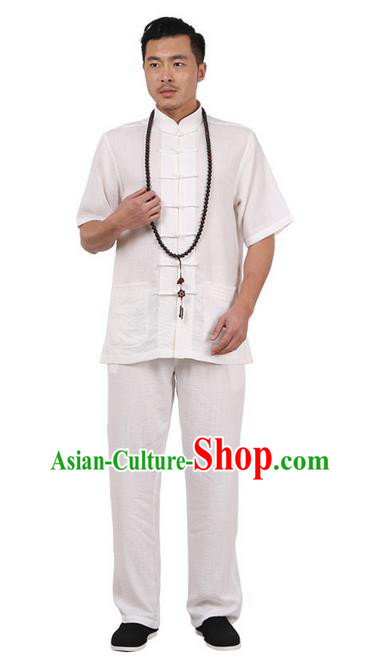 Traditional Chinese Kung Fu Costume Martial Arts Linen Plated Buttons Short Sleeve White Uniforms Pulian Clothing, China Tang Suit Tai Chi Meditation Clothing for Men