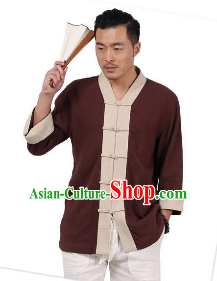 Traditional Chinese Kung Fu Costume Martial Arts Linen Plated Buttons Shirts Pulian Clothing, China Tang Suit Tai Chi Overshirt Coffee Upper Outer Garment for Men