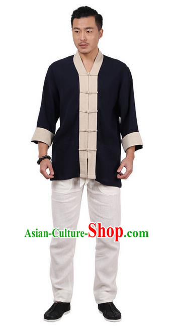 Traditional Chinese Kung Fu Costume Martial Arts Linen Plated Buttons Shirts Pulian Clothing, China Tang Suit Tai Chi Overshirt Navy Upper Outer Garment for Men