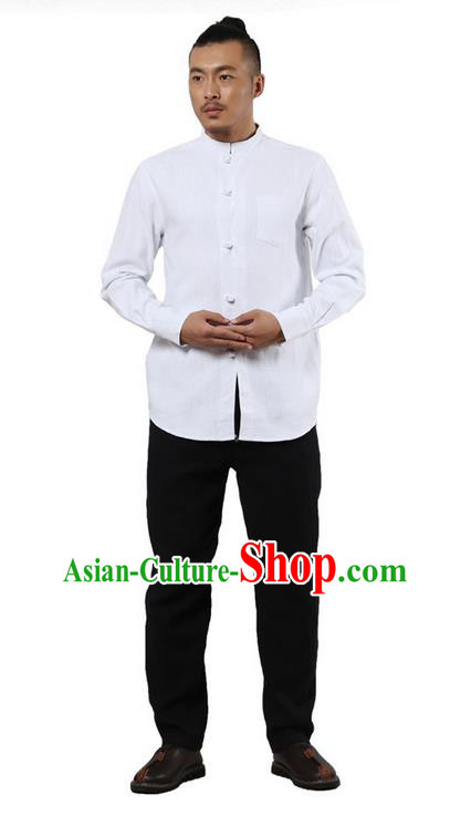 Traditional Chinese Kung Fu Costume Martial Arts Linen Plated Buttons Shirts Pulian Clothing, China Tang Suit Tai Chi Stand Collar Overshirt White Upper Outer Garment for Men