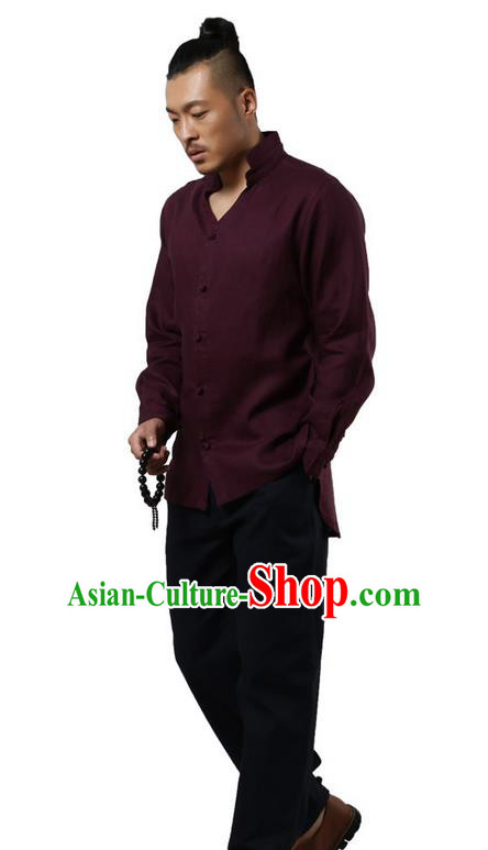 Traditional Chinese Kung Fu Costume Martial Arts Linen Stand Collar Shirts Pulian Clothing, China Tang Suit Tai Chi Overshirt Saffron Upper Outer Garment for Men
