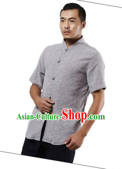 Traditional Chinese Kung Fu Costume Martial Arts Linen Short Sleeve Shirts Pulian Clothing, China Tang Suit Tai Chi Plated Buttons Overshirt Grey Upper Outer Garment for Men