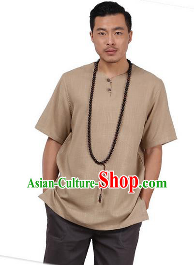 Traditional Chinese Kung Fu Costume Martial Arts Linen Short Sleeve T-Shirts Pulian Clothing, China Tang Suit Tai Chi Overshirt Khaki Upper Outer Garment for Men