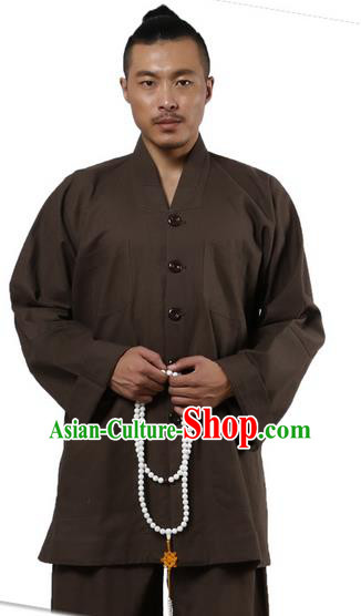 Traditional Chinese Kung Fu Costume Martial Arts Linen Long Sleeve Brown Monk Uniforms Pulian Clothing, China Tang Suit Tai Chi Meditation Clothing for Men