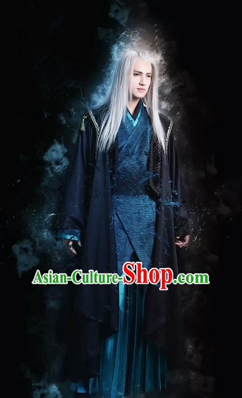 Traditional Chinese Ancient Imperial Bodyguard Swordsman Costume and Headpiece Complete Set, China Ming Dynasty Secret Service Suit Clothing for Men