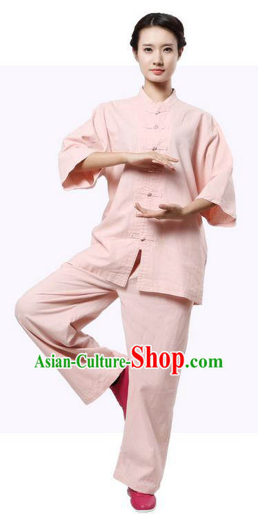 Top Grade Kung Fu Costume Martial Arts Pink Suits Pulian Zen Clothing, Training Costume Tai Ji Uniforms Gongfu Shaolin Wushu Tai Chi Plated Buttons Clothing for Women