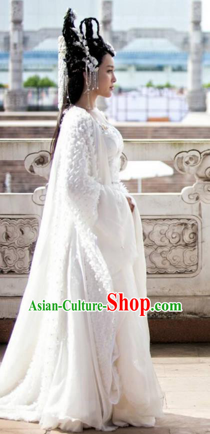 Traditional Chinese Ancient Female Costume and Headpiece Complete Set, Xuan-Yuan Sword Legend  The Clouds of Han the Three Kingdoms Palace Lady Peri Hanfu Clothing for Women