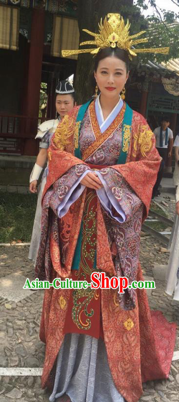 Traditional Chinese Ancient Imperial Consort Costume and Headpiece Complete Set, Xuan-Yuan Sword Legend  The Clouds of Han the Three Kingdoms Imperial Empress Hanfu Clothing for Women