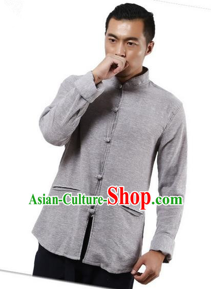 Traditional Chinese Kung Fu Costume Martial Arts Linen Shirts Pulian Meditation Clothing, China Tang Suit Upper Outer Garment Grey Overshirt for Men
