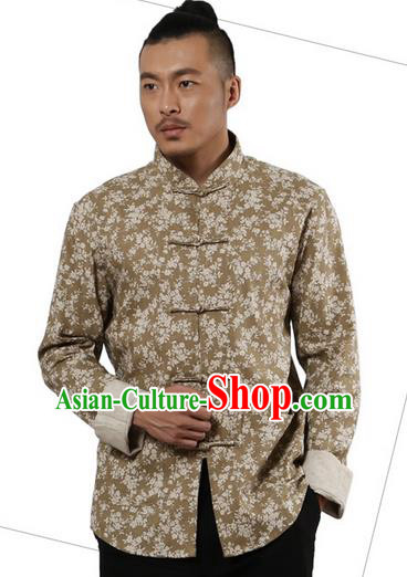Traditional Chinese Kung Fu Costume Martial Arts Linen Plated Buttons Shirts Pulian Meditation Clothing, China Tang Suit Upper Outer Garment Khaki Overshirt for Men