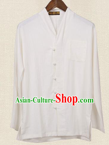 Traditional Chinese Kung Fu Costume Pulian Meditation Clothing Martial Arts Linen Slant Opening Shirts, China Tang Suit Upper Outer Garment White Overshirt for Men