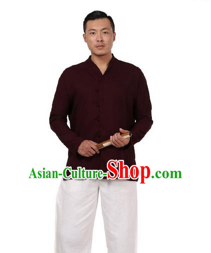 Traditional Chinese Kung Fu Costume Pulian Meditation Clothing Martial Arts Linen Slant Opening Shirts, China Tang Suit Upper Outer Garment Dark Red Overshirt for Men