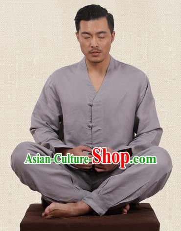 Traditional Chinese Kung Fu Costume Martial Arts Linen Slant Opening Grey Suits Pulian Meditation Clothing, China Tang Suit Uniforms Tai Chi Clothing for Men