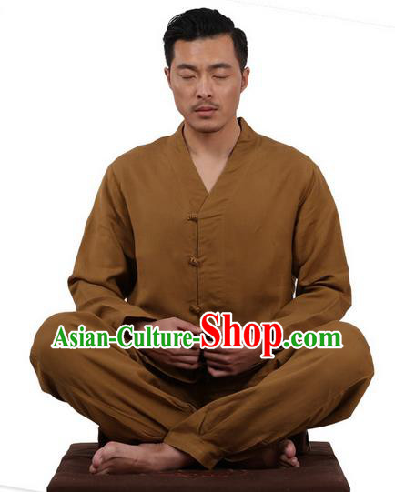 Traditional Chinese Kung Fu Costume Martial Arts Linen Slant Opening Coffee Suits Pulian Meditation Clothing, China Tang Suit Uniforms Tai Chi Clothing for Men