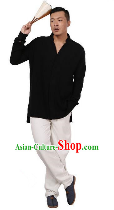 Traditional Chinese Kung Fu Costume Martial Arts Linen Black Shirts Pulian Meditation Clothing, China Tang Suit Overshirts Tai Chi Clothing for Men