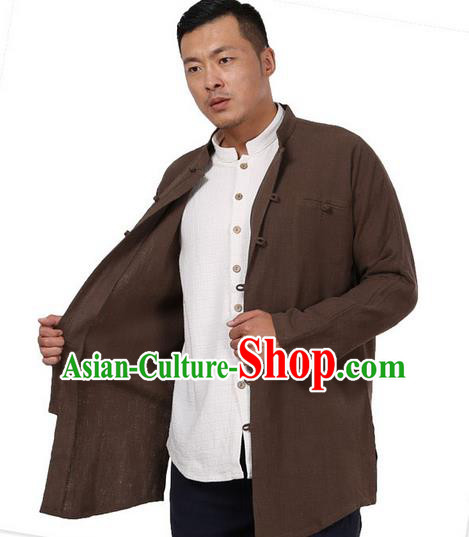 Traditional Chinese Kung Fu Costume Martial Arts Ramie Coffee Shirts Pulian Meditation Clothing, China Tang Suit Overshirts Tai Chi Long Gown for Men