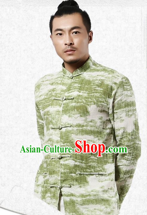 Traditional Chinese Kung Fu Costume Martial Arts Tang Suit Shirts Pulian Meditation Clothing, China Tai Chi Plated Buttons Green Overshirts for Men
