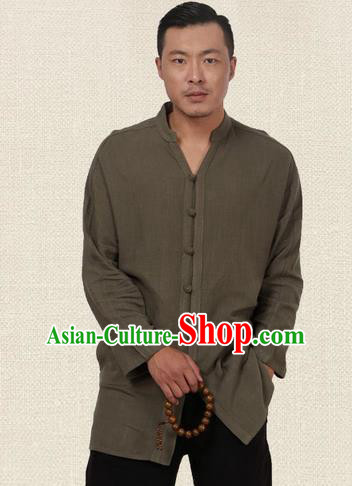 Traditional Chinese Kung Fu Costume Martial Arts Tang Suit Plated Buttons Shirts Pulian Meditation Clothing, China Tai Chi Army Green Overshirts for Men