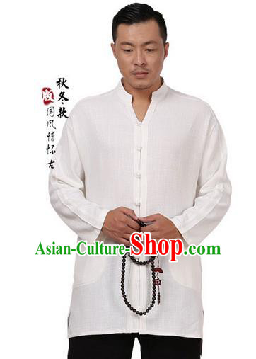Traditional Chinese Kung Fu Costume Martial Arts Tang Suit Plated Buttons Shirts Pulian Meditation Clothing, China Tai Chi White Overshirts for Men