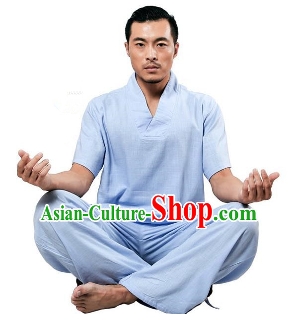 Traditional Chinese Kung Fu Costume Martial Arts Linen Plated Buttons Blue Suits Pulian Meditation Clothing, China Tang Suit Uniforms Tai Chi Clothing for Men
