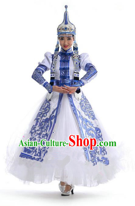 Traditional Chinese Mongol Nationality Dance Costume, Mongols Female Folk Dance Ethnic Pleated Skirt, Chinese Mongolian Minority Nationality Blue Dress Clothing for Women